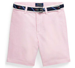 NWT New Ralph Lauren POLO Boys Pink Easter Slim Fit Belted Oxford Shorts Size 5