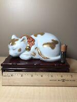 "Vintage Japanese Porcelain Kutani Cat Figurine Authentic 6"" Long"