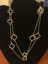 "14k yellow gold Designer Alhambra millgrain quatrefoil long necklace 32"" heavy"