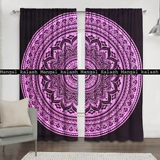 Indian Pink Ombre Mandala Window Cotton Tapestry Drapes Hanging Room Curtain Set