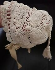 Antique 30s 40s Ivory Crochet Baby Hat Grosgrain Ties Tassel Bonnet 0-3 months