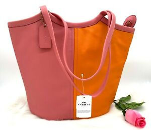 AUTH NWT COACH Bea Medium ColorBlock Leather Tote Bag In Taffy Orange Multi
