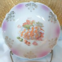 Vintage Bavaria Germany White & Purple Lusterware Bowl Hand Painted White Grapes