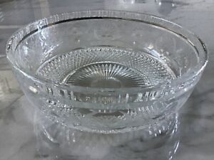 Very Large Fine Cut Lead Crystal Bowl With Decoration - ? Waterford