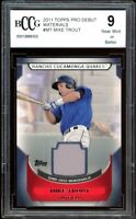 2011 Topps Pro Debut Materials #MT Mike Trout Rookie Card BGS BCCG 9 Near Mint+