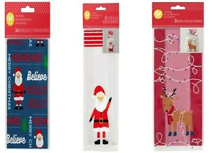 Christmas Treat Bags Xmas Gift Party Sweets Chocolates Candy Cane Santa Reindeer