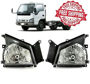 For 05 06 GMC W-Series W4500 Headlights Set Replacement Left Right Headlamp