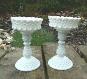"""Pair Vintage Fenton Hobnail Milk Glass Footed Thumbprint Candlestick Holders 8"""""""