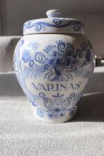 ca 1920 DELFT BLUE TOBACCO JAR VARINAS MARKED Koniglijk Goedewaagen Gouda