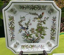 Vintage pair of hand decorated Asian plates, with birds on branches design