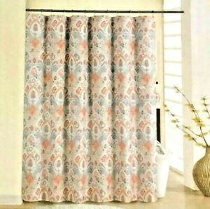 Waverly Coral Boho Passage Fabric Shower Curtain Set with 12 Metal Roller Hooks