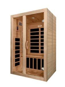 Dynamic Santiago 2 Person Low EMF Far-Infrared Sauna Beautiful Natural Hemlock