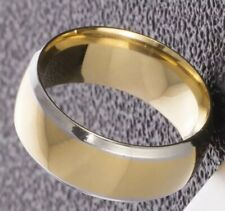 Unisex Band New Titanium Gold w/Silver Trim Stainless Steel Ring Size 7