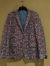 Suslo Couture Christmas Candy Cane Blazer Sport Coat NWT Ugly Sweater Sz 40 slim