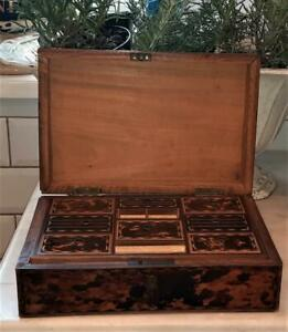 Fine Regency Faux Tortoiseshell Work Box with Fully Fitted Interior C 1800+
