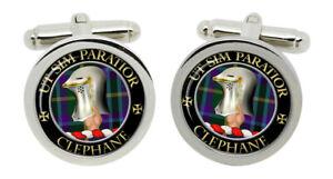 Clephane Scottish Clan Cufflinks in Chrome Box