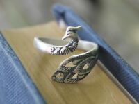 Adjustable Silver peacock ring Bohemian Gypsy jewellery Mother's day gift