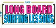 LONG BOARD SURFING LESSONS Banner Sign NEW Larger Size for Beach Surf Shop
