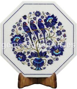 "12""X12"" Marble White Top Coffee Table Lapis Floral Parrot Arts Cafeteria Décor"