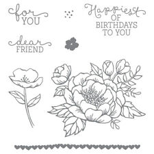 Stampin Up ~BIRTHDAY BLOOMS~ Set of  8 Cling Red Rubber Stamps - NIP