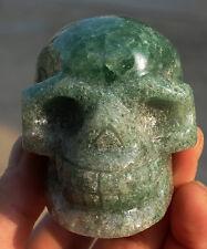 Sculpture natural green strawberry crystal quartz crystal alien skull healing