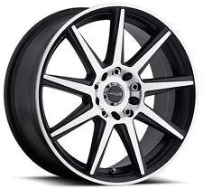 16x7 Raceline 144M-Storm 4x100/4x108 ET40 Black Machined Wheels (Set 4)