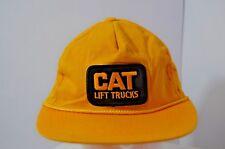 Vtg 80s Caterpillar Cat Snapback Hat Lift Trucks Tractor Baseball Cap Yellow