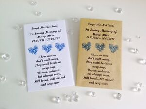 10 Personalised Forget Me Not Seed Packets Envelopes Favours Funeral Memorial