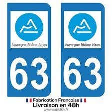 2 STICKERS AUTOCOLLANT PLAQUE IMMATRICULATION DEPT 63 Auvergne-Rhône-Alpes