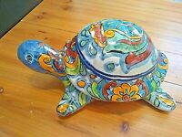 Mexican Art Hand Painted Ceramic turtle tortoise Figurine box 8''x5''x4''