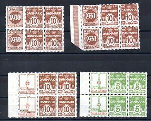 DENMARK , 1930 , 1931 , FOUR scarce BOOKLET PANES , MH / MNH , LOOK !