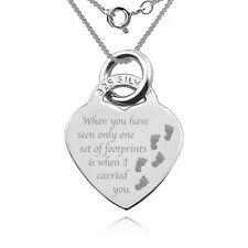 Huellas en la arena en forma de corazón necklace/pendant, 925 plata esterlina