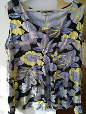 JVNS Sleeveless Viscose Multi-Coloured Top Grey Black Yellow Size L