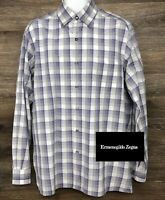 Ermenegildo Zegna Men's Purple Gray Plaid Long Sleeve Button Down Modern Shirt L