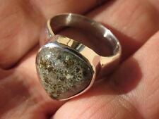 NWA 869 Sahara Desert Stone Meteorite Ring .925 Sterling Silver Size 10 1/4
