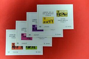 ZAYIX - 1967 Mexico 983-85a, C329-31a MNH souvenir sheet set - Olympics