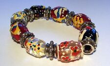 Chunky Painted Bead Stretch Christmas Bracelet
