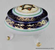 Vintage Cobalt Porcelain Footed Gilded Trinket Box w/Lid Star of David Design