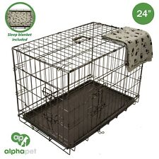 """ALPHAPET 24"""" Heavy Duty Pet Dog Puppy Rabbit Animal Cage Crate Foldable Carrier"""
