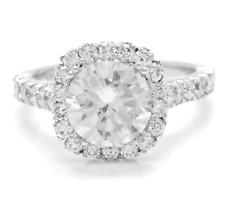 3.75 Carats Natural Diamond and Moissanite 14K Solid White Gold Engagement Ring