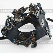 Black/Dark Gold Roman Greek Emperor Men's Masquerade Mardi Gras Venetian Mask