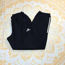 Black & White Stripes Vintage Adidas Tracksuit Bottoms with Leg Zipper