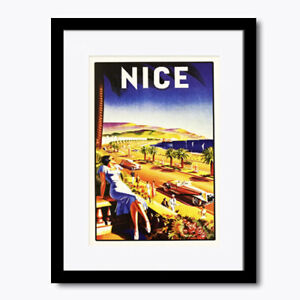 Nice French Riviera Beach Vintage View Wall Art Print Framed Poster Picture
