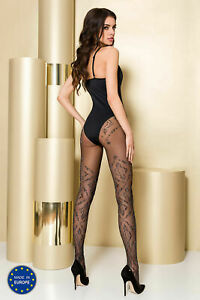 PASSION TI105 PATTERNED TIGHTS 20 DENIER GRAY ON BLACK 2 SIZES