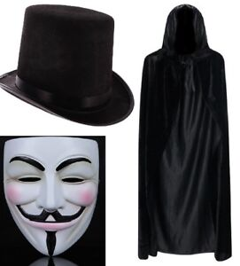 V For Vendetta Anonymous Mask, Cape & Top Hat Guy Fawkes Halloween Fancy Dress