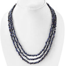 BREATHTAKING QUALITY 234.35 CTS NATURAL 3 LINE BLUE TANZANITE BEADS NECKLACE