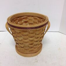 Woven hand crafted storage decorative basket top burgundy accent ring handles