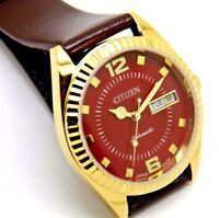 CITIZEN AUTOMATIC GOLD PLATED GENT VINTAGE YELLOW DIAL DAY/DATE WATCH RUN ORDER