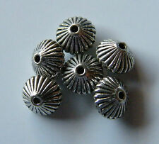 100pcs 8x5mm Metal Alloy Bicone Spacer Beads - Antique Silver