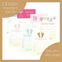 16 A6 Baby Shower / Christening Invitations Invites neutral or boy - girl